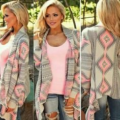 Pink and grey cardigan This cardigan fits true to size. That is the XL that I have on in the pictures. Comment for your size and I'll make you an individual listing Sweaters Cardigans