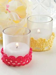 Tea Light Holders Crochet Pattern Download from e-PatternsCentral.com -- Add elegance and ambiance to your tea or luncheon setting with these dainty little thread candle holders.