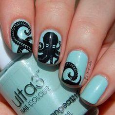 Octopus nail art - Ulta3 Blue Hydrangea Mine: Essie Mint Candy Apple, Mentality Black, Sinful Colors Black?