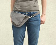 Belt Bag in Gray Cotton : Fanny Pack, Hip Bag Made from a sturdy yet lightweight cotton in mid-tone gray, our unique belt bag is practical,