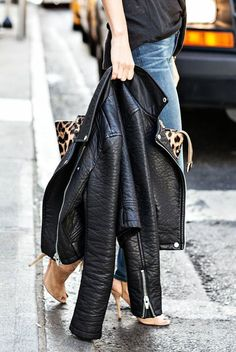 Leather + leopard.