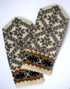 Hand Knitted Wool Mittens White Gray Mittens Hand Knitted Wool Gloves White Gray Wool Gloves Patterned Latvian Mittens Warm Winter Mittens – The Best Ideas Knit Mittens, Knitting Socks, Hand Knitting, Knitting Patterns, Wool Gloves, Knitted Gloves, Mittens Pattern, Star Ornament, Tricot