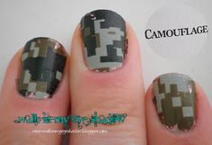 Minecraft styled camo nails OMG yep doing this!!!!! I know exactly how to as well!!