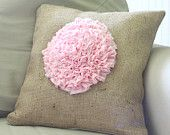 pink dahlia flower on burlap pillow cover - shabby chic farmhouse style - cotton candy pink