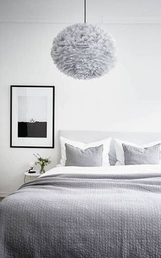 A grey bedroom | Vita Eos Light Shade available at www.istome.co.uk