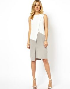 Buy ASOS Shift Dress With Asymmetric Colourblock at ASOS. Get the latest trends with ASOS now. Elegant Maxi Dress, Simple Dresses, Casual Dresses, Modest Fashion, Fashion Dresses, Woman Dresses, Diy Mode, Dress Sewing Patterns, Linen Dresses