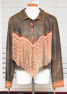 DOUBLE D Ranchwear Cowboy Genuine Leather Fringe Studded Jacket Brown Large L