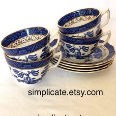 Alfred Meakin Smart Alfred Meakin Vintage Pin Dishes Willow Pattern Jade White Pottery, Porcelain & Glass