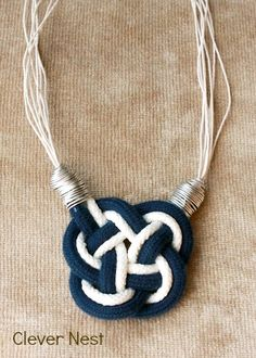 Clever Nest: Nautical Knot Necklace #jewelry #rope #navy #white try with beads