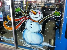 SNOWMEN WINDOW PAINTINGS | SNOW WOMEN & SNOW FAMILY WINDOW ART: (Be sure to book well in advance – Christmas is the busiest season for Window Paintings.) WE DESIGN. DRAW. PAINT & CREATE SNOWMAN THEMED CHRISTMAS WINDOWS!  IT'S…