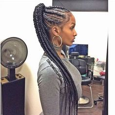 Braided Cornrow Ponytail ❤️ Those who think that ponytail hairstyles are boring are going to change their mind today! Our latest ideas are here to show a pony from a new perspective. My Hairstyle, Box Braids Hairstyles, Girl Hairstyles, Protective Hairstyles, Protective Styles, Teenage Hairstyles, Brunette Hairstyles, Braided Cornrow Hairstyles, Wedding Hairstyles