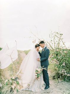Sweet Bride and Groom Portrait   Romantic Wedding Inspiration on the Oregon Coast from Cassie Valente Photography