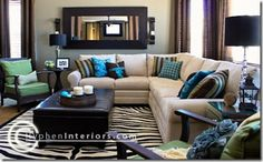 brown and blue with a hint of green in the living room