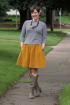 Already Pretty outfit featuring striped Breton top, mustard yellow full skirt, Diesel Go-go boots, bib necklace