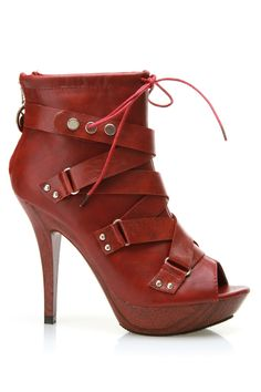 Red peep toe booties ~ these are GORGEOUS! Totally my style! They will FUNK up any style! Pair them up with any Shredded Top or T! http://www.etsy.com/shop/UniverSoulWear?ref=si_shop