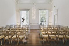 Murray Clarke - Jenni and Matt's wedding at the ICA - Our ceremony room set up with in house furniture and lighting.