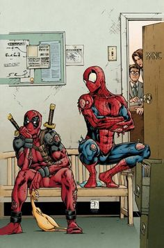 Spidey and Deadpool busted!