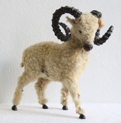 Great inspiration for a Victorian Children's Toy Ram handmade and hand stitched with real lambs fur and old brown glass eyes. Also hand carved wood horns, hoofs and nose Clay Animals, Plush Animals, Antique Toys, Vintage Toys, Toddler Toys, Baby Toys, Victorian Toys, Best Kids Toys, Paperclay
