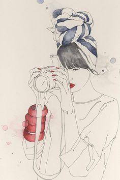 I'm a big illustration and comic book fan. In my eyes, comic books and illustration are the same kind of art forms. Art And Illustration, Illustration Inspiration, Camera Illustration, Watercolor Illustration, Emma Leonard, Art Amour, Grafik Design, Art Design, Design Girl