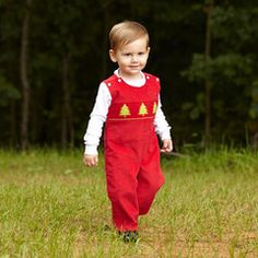 just adorable! Red Corduroy Christmas Tree Smock Longall