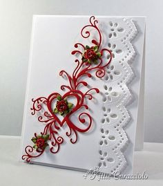 SU Whisper White & Real Red card stock.  Impression Obsession Heart Flourish & Border Duo 2 dies.