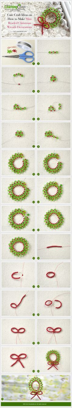 Cute Craft Ideas on How to Make Mini Beaded Christmas Wreath Decorations by Jersica Beaded Christmas Decorations, Beaded Ornaments, Christmas Tree Ornaments, Christmas Wreaths, Beading Tutorials, Beading Patterns, Jewelry Patterns, Cute Crafts, Holiday Crafts