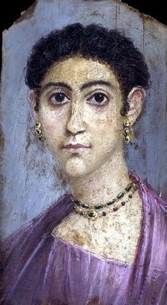 Mummy portrait of a woman, Hawara, Fayum, Egypt, AD 100-120 -- See also at: upload.wikimedia....