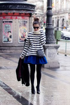 stripes & a skater skirt. I'm moving to Europe and dressing like this.