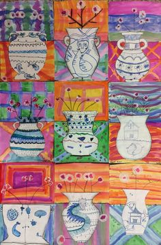 The Lost Sock : Chinese Flower Vase - grade class 3rd Grade Art Lesson, Third Grade Art, Art Education Projects, School Art Projects, New Year Art, Chinese Flowers, Middle School Art, High School, China Art