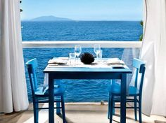 And would have my lunch here,...blue chairs, blue table, blue vistas!  Ristorante Il Riccio, Capri