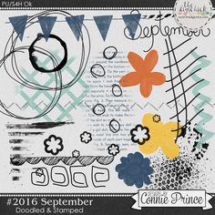 #2016 September - Doodles & Stamps by Connie Prince. Includes 20 doodle & stamp elements. Saved in PNG format. Scrap for hire / others ok.