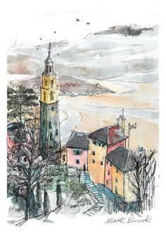 https://flic.kr/p/FY4c2a | Portmeirion  view | Sketch from life of Portmeirion view from gazebo on hill. Drawn on my lovely A3 Moleskine sketchbook.
