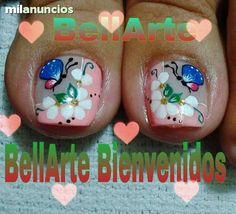 catalogo de decoracion de uñas masglo gratis - Buscar con Google Pedicure Nail Art, Toe Nail Art, Mani Pedi, Cute Pedicures, Cute Nails, Painted Toe Nails, Magic Nails, Nail Time, Toe Nail Designs