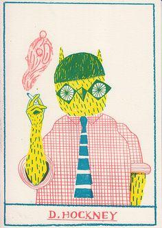 Happy 75th Birthday to David Hockney. llustration by Liam Barrett, via Flickr