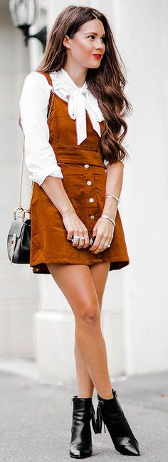 Sarah Styles Seattle Cognac Corduroy Overalls Fall Street Style Inspo