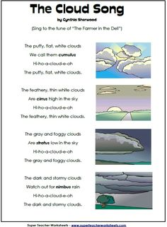 For my elementary peeps.When you're teaching weather, sing Cindy Sherwood's catchy cloud song!