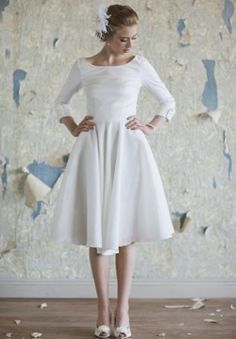 Vestido de novia a la rodilla estilo 50's - Foto: Ruche