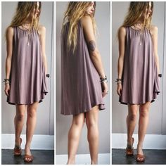 A Potato Sack Dress in Dusty Purple