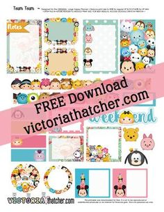 Free Printable Tsum Tsum Planner Stickers from Victoria Thatcher Free Planner, Planner Pages, Happy Planner, Planner Ideas, Victoria Thatcher, Tsum Tsum Party, Disney Planner, Planners, Tsumtsum
