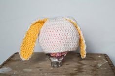 Bunny hat with yellow inner ears by FraidKnotOttawa on Etsy
