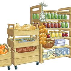 DIY Produce Storage Bins: Turn your pantry or basement into a portable storehouse with fresh crops stashed in these stackable produce storage bins. The plans offer two versions of DIY storage bins: tall and short. From MOTHER EARTH NEWS magazine. Pantry Storage Containers, Produce Storage, Storage Bins, Food Storage, Pantry Organization, Diy Vegetable Storage Bin, Vegetable Crates, Workshop Organization, Potager Bio