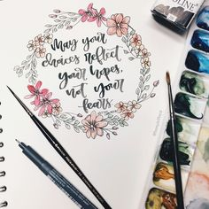 Botanical line drawing floral wreath and Nelson Mandela quote from @teenyletters