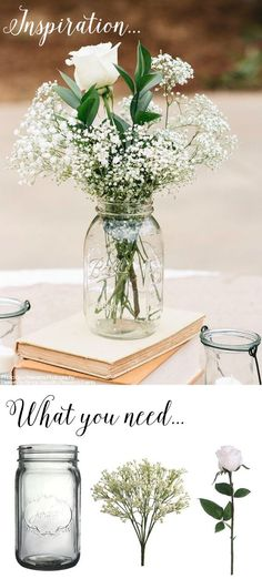 You can make this simple DIY vintage rustic centerpiece with mason jars, baby's breath, and silk rose buds for your wedding, shower, or home! Find inspiration for your wedding on Pinterest and floral supplies for your DIY wedding at Afloral.com. #afloral
