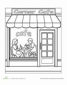 Preschool Places Worksheets: Paint the Town: Cafe Colouring Pages, Free Coloring, Coloring Sheets, Adult Coloring, Coloring Books, House Sketch, House Drawing, Art Drawings For Kids, Drawing For Kids