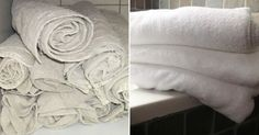 There's nothing like the feel of a fresh, fluffy towel. However with normal wear and tear, your soft and fluffy towel can quickly become tough, rough, and discoloured. Diy Cleaning Products, Cleaning Hacks, Old Towels, Making Life Easier, Natural Cleaners, Cleaners Homemade, Soft And Gentle, Green Life, Home Hacks