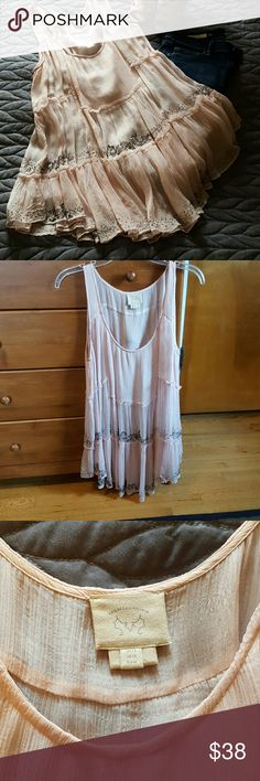 Gorgeous silk sheer Anthropologie top This gorgeous silk sheer Anthropologie top looks great with skinny jeans and heels. Amazing fabric and detailing. Worn twice. Anthropologie Tops Blouses