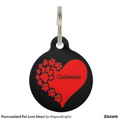 Personalized Pet Love Heart Pet ID Tag Custom Pet Tags, Pet Id Tags, Creature Comforts, Christmas Card Holders, Pet Shop, Love Heart, Keep It Cleaner, Colorful Backgrounds, Your Pet