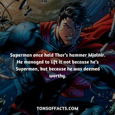 funnysuperherocomics superman mjolnir managed because hammer thors once lift held not he it to Superman once held Thors hammer Mjolnir He managed to lift it not because he You can find Superman and more on our website Superman Facts, Superhero Facts, Marvel Facts, Comic Book Characters, Marvel Characters, Comic Books, Dc Comics Superheroes, Marvel Dc Comics, Marvel Vs