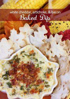 ADDICTIVE RECIPE: Baked White Cheddar, Bacon, Artichoke Dip!  Add Boneyards