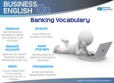 Banking Vocabulary, BUSINESS ENGLISH - Repinned by Chesapeake College Adult Ed. We offer free classes on the Eastern Shore of MD to help you earn your GED - H.S. Diploma or Learn English (ESL) . For GED classes contact Danielle Thomas 410-829-6043 dthomas@chesapeke.edu For ESL classes contact Karen Luceti - 410-443-1163 Kluceti@chesapeake.edu . www.chesapeake.edu